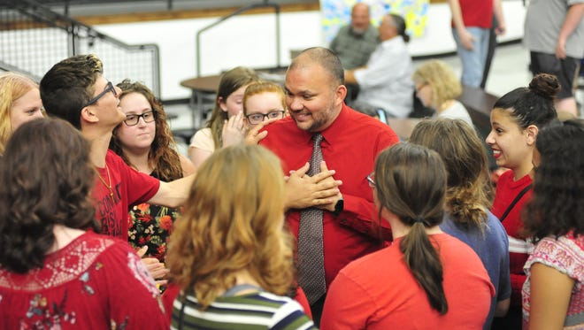 Eddie Walker was surrounded by students during the entire five-hour meeting Wednesday.