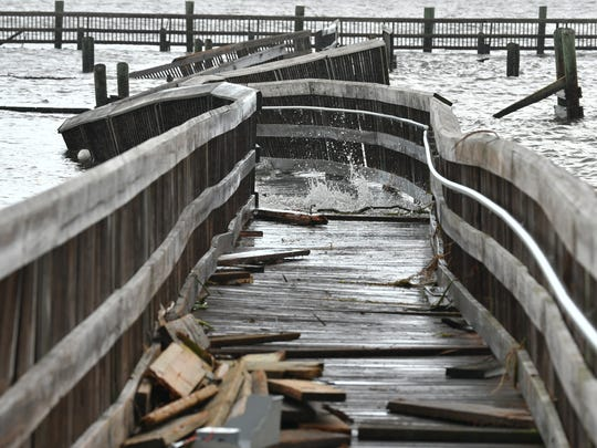 The Veterans Memorial Park pier along the Indian River in Titusville on Monday after a Hurricane Irma hit Brevard County.