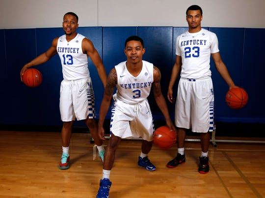 Kentucky Wildcats guard Tyler Ulis (3), guard Jamal