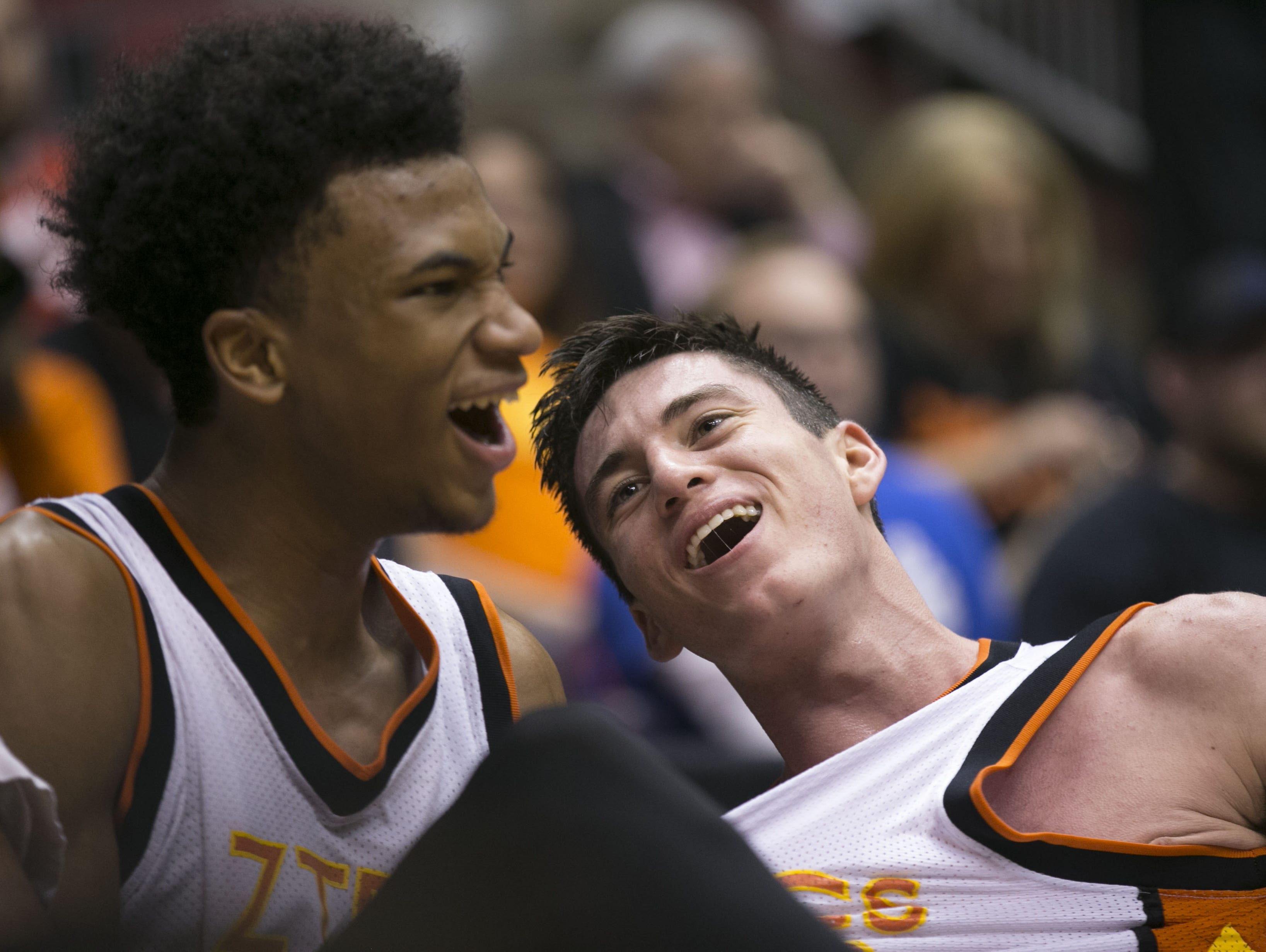 Corona del Sol's Marvin Bagley III and Alex Barcello (right) celebrate winning the Division I state title at Gila River Arena in Glendale on March 2, 2015.