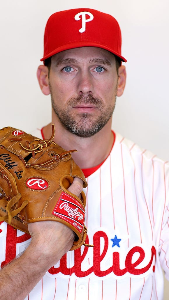 Cliff Lee poses for a portrait during photo day at Bright House Stadium on February 27 in Clearwater, Florida.