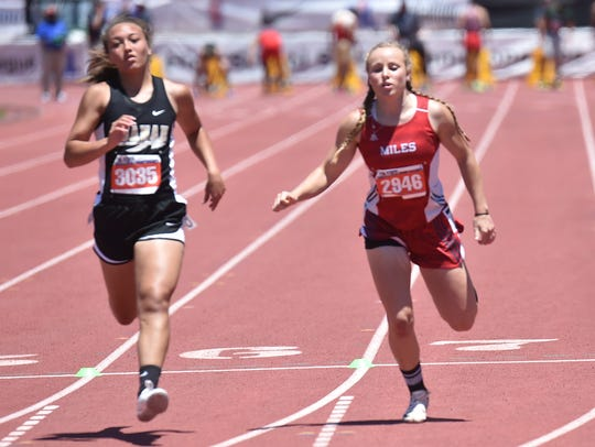 Miles freshman Skyler Brooks runs in the 100 meters Saturday, May 13, 2017, during Class 2A competition at the UIL State Track and Field Championships in Austin.