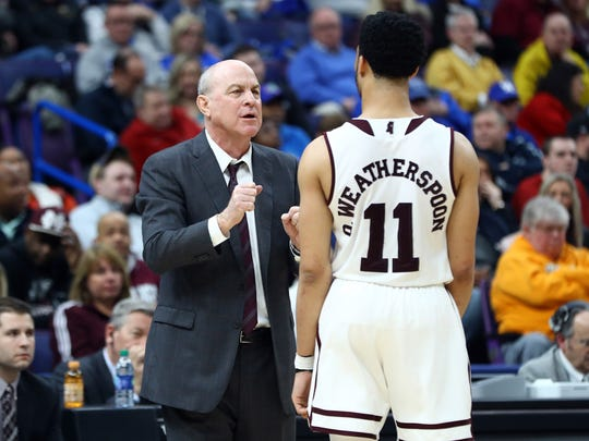Mar 8, 2018; St. Louis, MO, USA; Mississippi State Bulldogs head coach Ben Howland talks with guard Quinndary Weatherspoon (11) during the second half of the second round of the SEC Conference Tournament against the LSU Tigers at Scottrade Center. Mississippi State won 80-77. Mandatory Credit: Billy Hurst-USA TODAY Sports