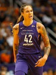 Phoenix Mercury center Brittney Griner (42) reacts