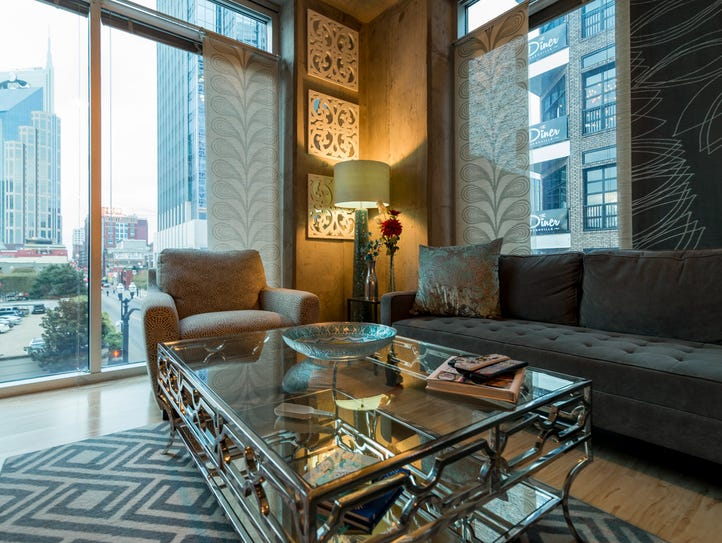 The living area at an Encore condo unit offers views