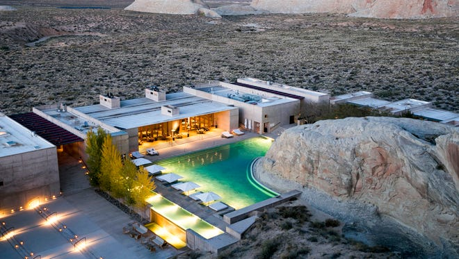 The Amangiri in Canyon Point, Utah, is one of 15 hotels that made Fodor's Travel's list of the 100 most incredible hotels in the world. It has a swimming pool built into rock.