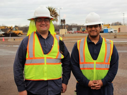 LCU interns Bryan Eakins, left, and Errol Lockett are the first students to be accepted into the LCUIP program, which pays tuition, education-related expenses, and paid on-the-job training to become a water, wastewater, or regulatory environmental services operator.