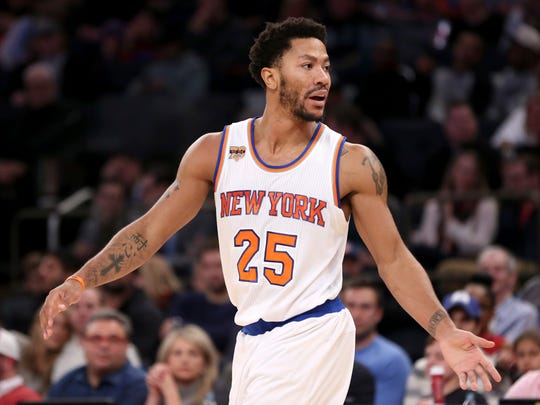 The Knicks' Derrick Rose during a game in December 2016.