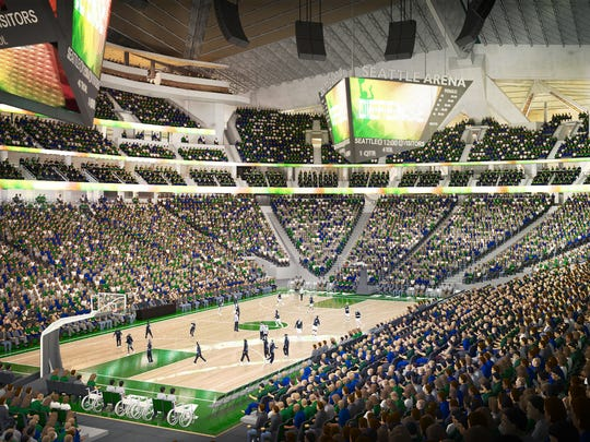 What Key Arena would look like when configured for basketball under Oak View Group's proposal.