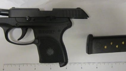 A gun confiscated from a Detroit Metro Airport passenger.