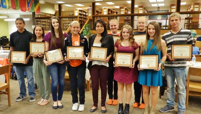 "(From left) Daniel M. Fragoso, Anastasia M. Geletka, Courtney Ricci, Mary E. ""Lizzy"" Blake, Cynthia Garcia, Jenna Jorgenson, Jessica L. Fackler, Kelsey E. Pastirko, Ashley Fackler and Joshua D. Loew are among Cumberland Regional High School's Distinguished Honors Scholars. Scholars not pictured are: Courtney H. Birdsall, Erica N. Burdsall, Casey L. Burke, Colleen K. Fralinger, Michaela K. Hitchner, Caroline R. ""Carly"" Jorgenson, Richard Lin, Karie L. Miner, Nishee M. Patel and Vinay Patel."
