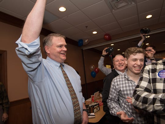Colin Bonini, candidate for Governor arrives at the