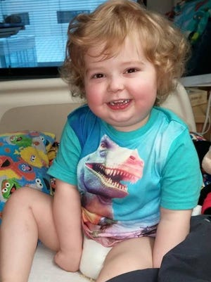 Sanders Moffit, who is hospitalized at University of Iowa Hospitals and Clinics with leukemia, is pictured on his third birthday last month at UIHC.