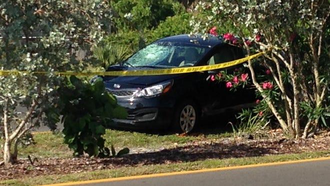 Car involved in a crash that killed a pedestrian at Hancock Bridge Pkwy and Orange Grove Blvd.
