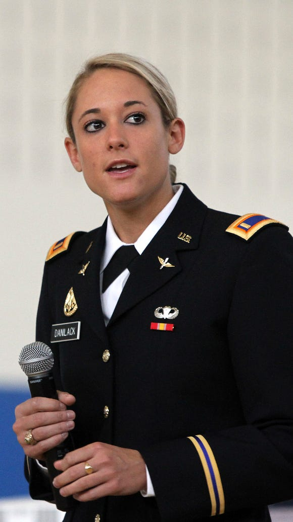 Army 2nd Lieutenant Lindsey Danilack of Montville, who led and dismissed her fellow new officers upon graduation from the United States Military Academy at West Point Wednesday and is the 4th woman to serve as the First Captain of the United States Corps of Cadets at West Point, shares her experiences, thoughts about leadership and following your dreams to the 8th graders at Central Middle School in Parsippany-Troy Hills, NJ Friday May 30, 2014.