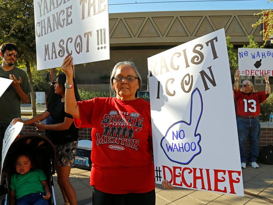 Lita Blackhorse, mother of Amanda Blackhorse, joins other Native Americans and their supporters as they protest the Indians name prior to the Arizona Diamondbacks vs Cleveland Indians MLB game on June 24, 2014 in Phoenix.