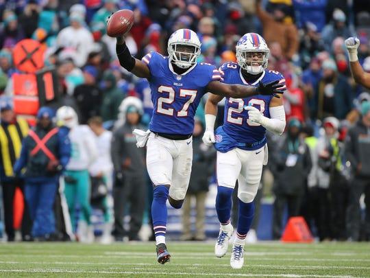 Bills cornerback Tre'Davious White celebrates his interception to seal a 24-16 Buffalo win over Miami.