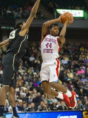 Amere May's career-high 32 points helped Delaware State defeat Wake Forrest.