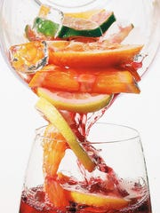 Sangria, made with a variety of fresh fruit and wine,