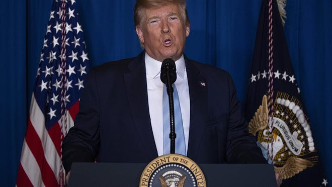 "Speaking in Palm Beach Friday, President Donald Trump described the attack on an Iranian general as ""a precision strike that killed the No. 1 terrorist anywhere in the world."""