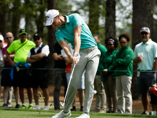 Danny Willett, of England, hits from the fourth tee during the second round at the Masters golf tournament Friday, April 6, 2018, in Augusta, Ga. (AP Photo/Chris Carlson)