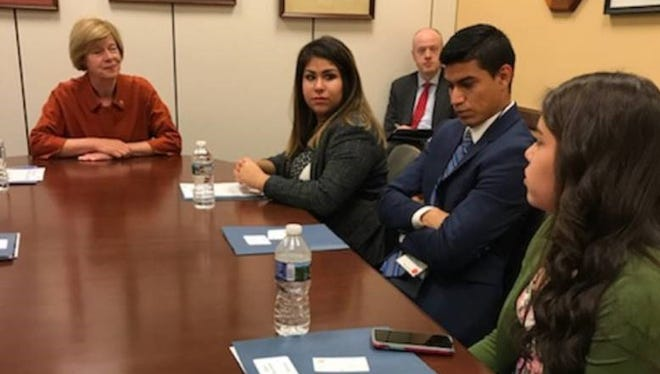 U.S. Sen. Tammy Baldwin met with DACA recipients, from left, Yessenia Carlos, Oscar Perez Sanchez and Valeria Arenas on Wednesday. Carlos, a resident of Green Bay, was among almost 150 young people who spoke to lawmakers as part of an advocacy event.