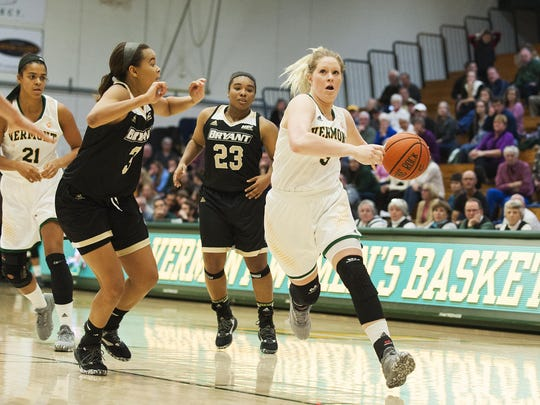 Catamounts guard Sydney Smith (3) drives to the hoop during the women's basketball game between the Bryant Bulldogs and the Vermont Catamounts at Patrick Gym on Friday night November 11, 2016 in Burlington. (BRIAN JENKINS/for the FREE PRESS)
