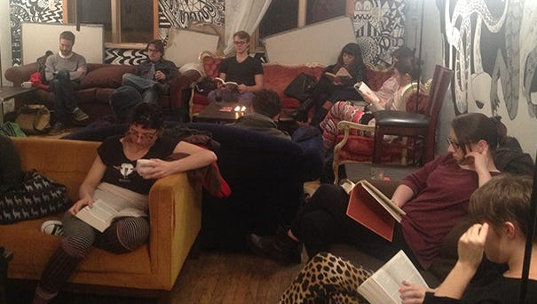 The scene at the first NYC Silent Reading Party at Muchmore's in Brooklyn.