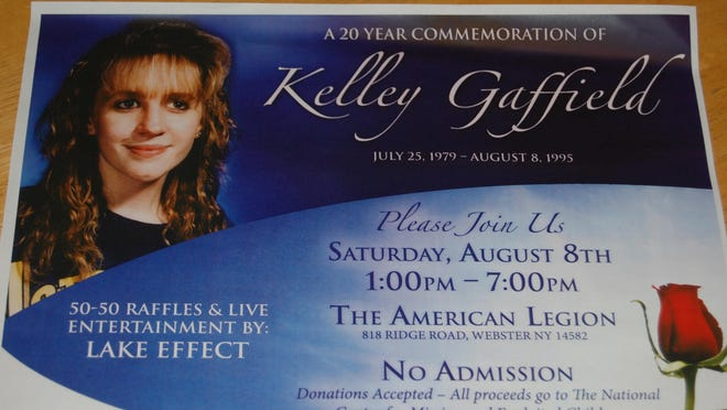 Flier for Saturday Aug. 8, 2015, fundraiser in Kelley Gaffield's name.