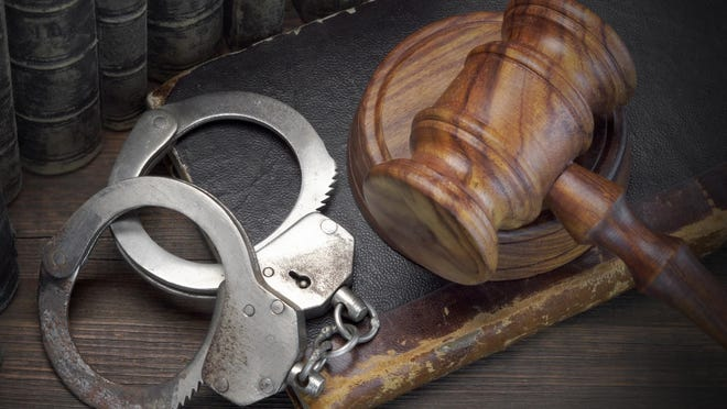 Handcuffs, gavel