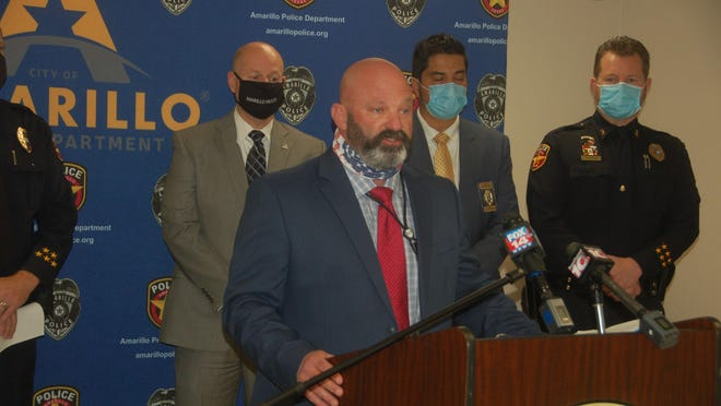 Amarillo Police Department Sgt. Mike Dunn, who serves as the lead investigator in the Nicole Moore case, addresses the media during a briefing on Thursday at the department's downtown headquarters.