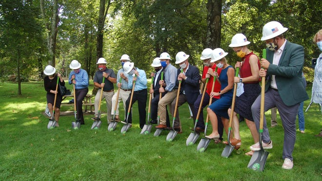 Groundbreaking for the Orleans Sewer project Tuesday Sept. 8, at the Snow Library.  Photo by Rich Eldred