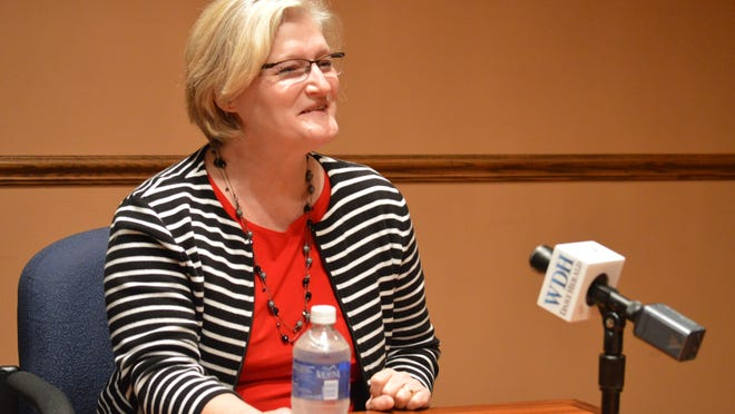 In this October 2014 file photo Dr. Lisa Grill Dodson, dean of the Medical College of Wisconsin's new campus in central Wisconsin, talks to members of the Daily Herald Media editorial board.