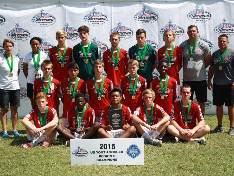 CESA 98 Premier team members gather for a photo after winning the Region III title in North Little Rock, Arkansas.Front row (left to right): Christopher Amond, Drake Byrd, Juan Sanjuan, Jared Gulden, Brian Munson.Middle row (left to right): Brady Rider, Nassim Alnawasreh, Quinn McNeill, Mitchell Myers, Dante Andre.Back row (left to right): Denise Calloway (team manager), Sasha Robinson (CESA trainer), Dean Sinatra, Shane Berson, Adam Calloway, Trevor Watson, Joshua Brannon, Russell Shelly (coach), Nick Finotti (head coach).