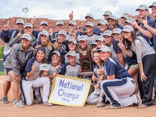Chipola players and Florida High alum Courtney Davis (bottom row, second from left) celebrate the school's second national title.