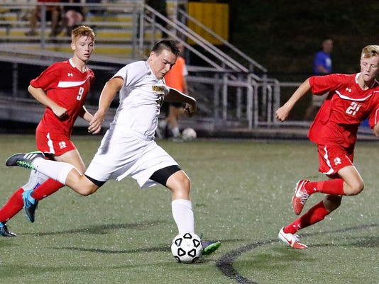 Lancaster Mennonites Chase Ross gets the only goal of the game at Lancaster Mennonite High School in Lancaster on Wednesday, Sept. 16, 2015.
