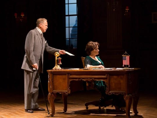 "Stephen Spinella as Col. Edward House, President Wilson's closest adviser and friend, with Laila Robins in ""The Second Mrs. Wilson."""