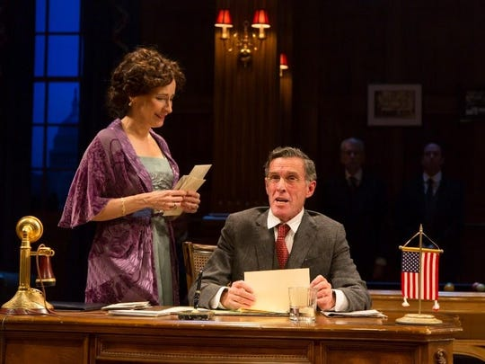 "Laila Robins and John Glover in ""The Second Mrs. Wilson."""