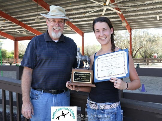 "The ""Deb PT Scholarship"" was awarded to Collier County high school senior Marissa Tessier, here pictured with Jim Flanagan."