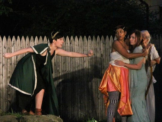 """Lily Ozer is Cassandra, Shamma Maria Casson is Alexandrea, and Natalie Brown is Cressida in Arden Shakespeare Gild's 2016 production """"Troilus and Cressida"""" running through June 25."""