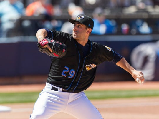 Former St. Joseph star Rob Kaminsky pitching for Class AA Akron RubberDucks in 2016.