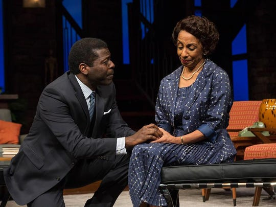 Dr. John Prentice) Chiké Johnson, left, left, talks to his mother, played by Nora Cole.