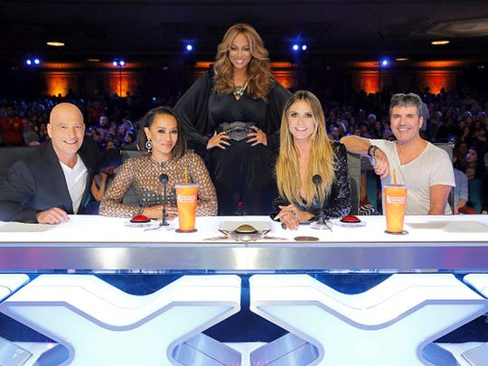 "AMERICA'S GOT TALENT -- ""Auditions Pasadena Civic Auditorium"" -- Pictured: (l-r) Howie Mandel, Mel B, Tyra Banks, Heidi Klum, Simon Cowell ? (Photo by: Trae Patton/NBC/NBCU Photo Bank via Getty Images)"