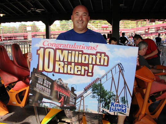 Mike Brogan of Cincinnati became the 10 millionth rider on Kings Island's Diamondback roller coaster July 21. Elsewhere in the park, the new Banshee passed a million riders in less than three months, and the Racer is approaching 100 million.