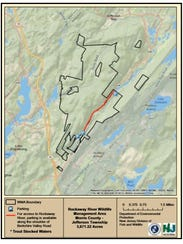 A land survey map of the Rockaway River Wildlife Management