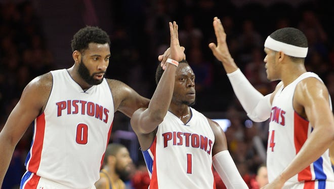 Trading away center Andre Drummond, left, and Reggie Jackson, middle, isn't the simple solution for the Pistons, according to Stan Van Gundy.