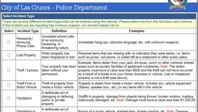 The Las Cruces Police Department's Citizens Online Police Reporting System can accept reports for lost property, auto burglary, theft or larceny, telephone harassment and vandalism.