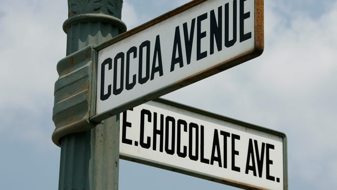 The intersection of Chocolate and Cocoa avenues in downtown Hershey, Pa.