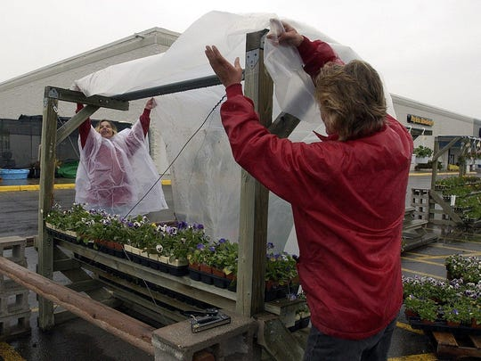 Be ready to cover tender vegetables with a floating row cover, blankets, or even boxes this time of year to protect them from frost and snow.