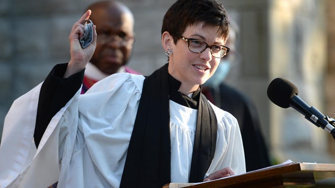 The Rev. Melinda Hall, dean of the Episcopal Cathedral of St. Paul in Erie speaks Aug. 7, 2020, during a vigil outside the Episcopal Cathedral of St. Paul in Erie. Local clergy talked about committing to fighting racism in the community.